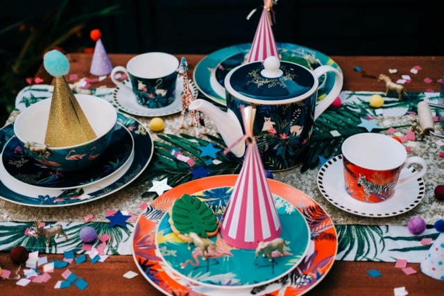 Sara Miller London Portmeirion Tahiti collection, party, birthday, bowl, plate, cake stand, mug