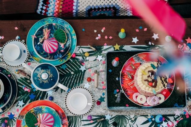 Sara Miller London Portmeirion Tahiti collection, party, birthday, bowl, plate, cake stand, mug