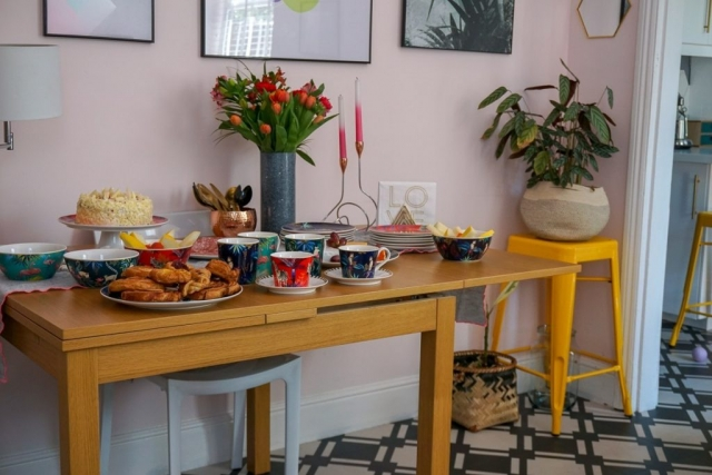 Sara Miller London Portmeirion Tahiti collection, mug, teacup, saucer, plate, cakestand