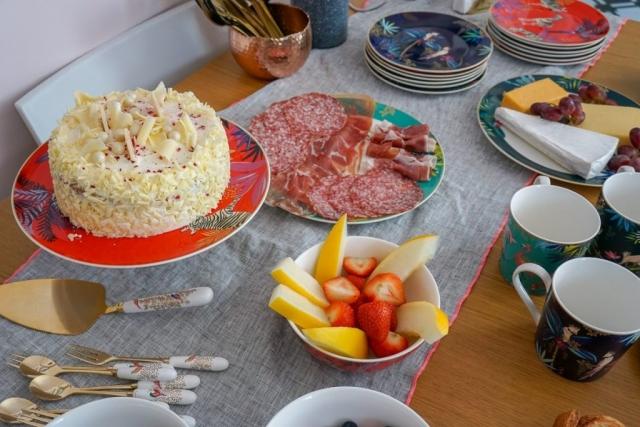 Sara Miller London Portmeirion Tahiti collection, mug, teacup, saucer, plate, cake stand