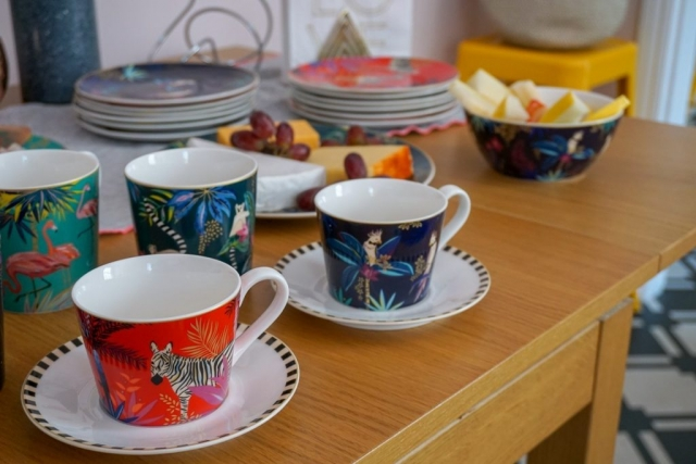 Sara Miller London Portmeirion Tahiti collection, mug, teacup, saucer, plate, cakestand